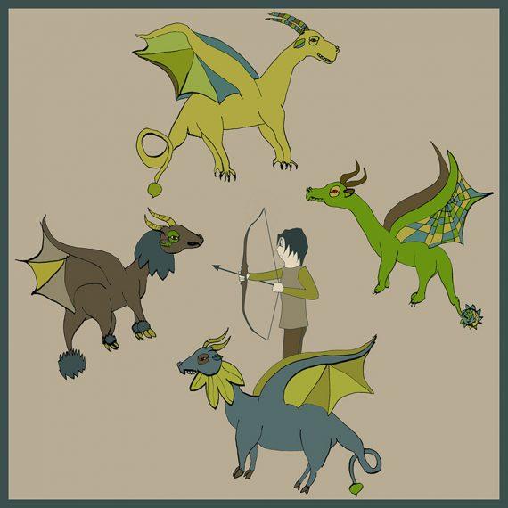 La fée-fille Kyoshi vs dragons Les fées mères décalque mural illustration