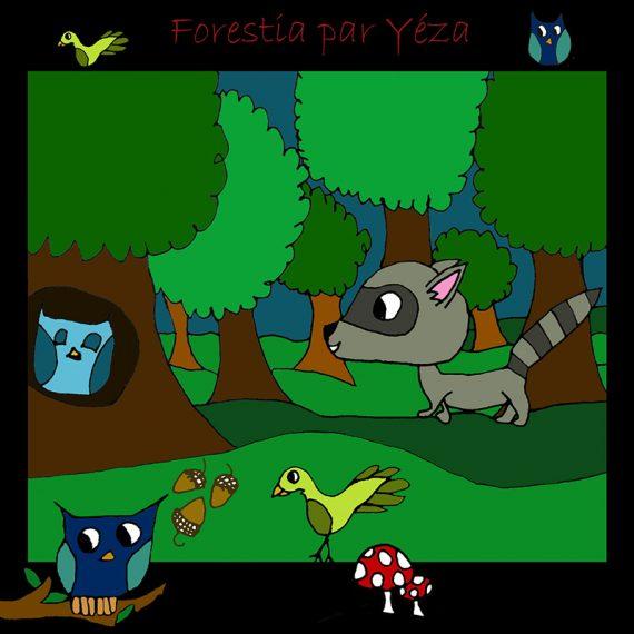 La fée-fille Forestia raton faon Les fées mères décalque mural illustration